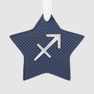 Sagittarius Zodiac Sign on Blue Carbon Fiber Style Ornament