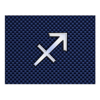 Sagittarius Zodiac Sign on Blue Carbon Fiber Style Postcard