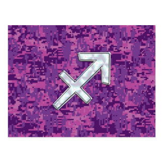 Sagittarius Zodiac Sign on Fuchsia Digital Camo Postcard