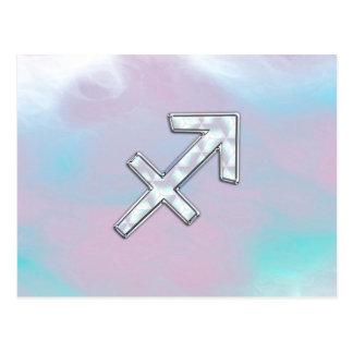 Sagittarius Zodiac Sign on Mother of Pearl Style Postcard