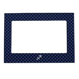 Sagittarius Zodiac Sign on Navy Carbon Fiber Print Magnetic Photo Frame