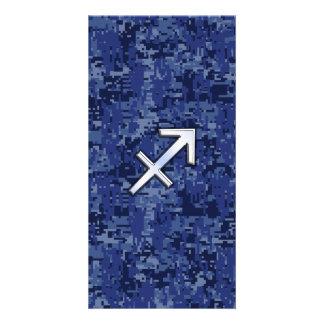 Sagittarius Zodiac Sign on Navy Digital Camo Card