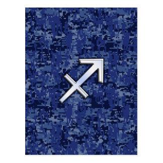 Sagittarius Zodiac Sign on Navy Digital Camo Postcard