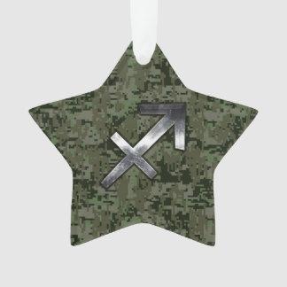 Sagittarius Zodiac Sign on Woodland Digital Camo Ornament