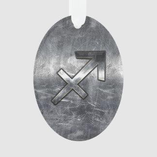 Sagittarius Zodiac Silver Distressed Steel look Ornament