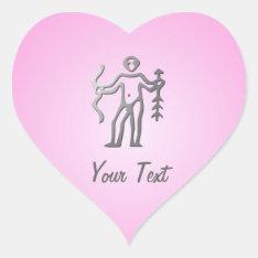 Sagittarius Zodiac Star Sign Light Silver On Pink Heart Sticker at Zazzle