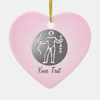 Sagittarius Zodiac Star Sign Premium Silver Double-Sided Heart Ceramic Christmas Ornament