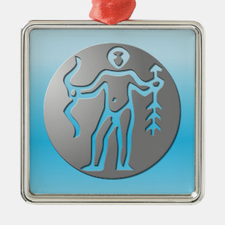 Sagittarius Zodiac Star Sign Premium Silver Square Metal Christmas Ornament
