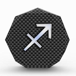 Sagittarius Zodiac Symbol Charcoal Carbon Fiber Acrylic Award