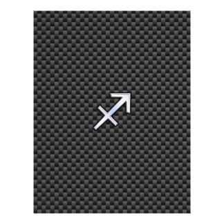Sagittarius Zodiac Symbol Charcoal Carbon Fiber Letterhead