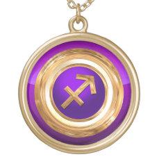 Sagittarius Zodiac Symbol Gold Plated Necklace