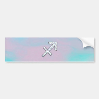 Sagittarius Zodiac Symbol Mother of Pearl Style Bumper Sticker