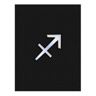 Sagittarius Zodiac Symbol on black snake skin Postcard