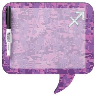 Sagittarius Zodiac Symbol on Fuchsia Digital Camo Dry Erase Board