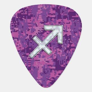 Sagittarius Zodiac Symbol on Fuchsia Digital Camo Guitar Pick