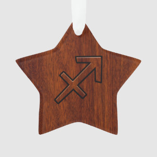 Sagittarius Zodiac Symbol on Mahogany Wood Decor Ornament