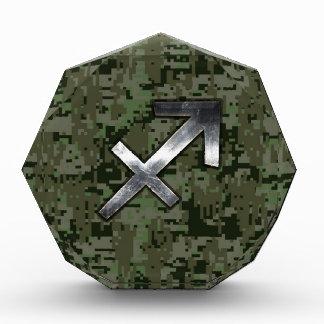Sagittarius Zodiac Symbol on Woodland Digital Camo Acrylic Award