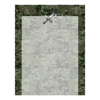 Sagittarius Zodiac Symbol on Woodland Digital Camo Letterhead