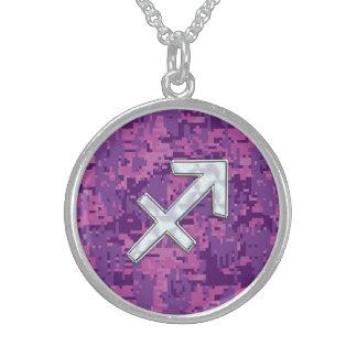 Sagittarius Zodiac Symbol Pink Digital Camouflage Sterling Silver Necklace