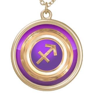 Sagittarius Zodiac Symbol Round Pendant Necklace