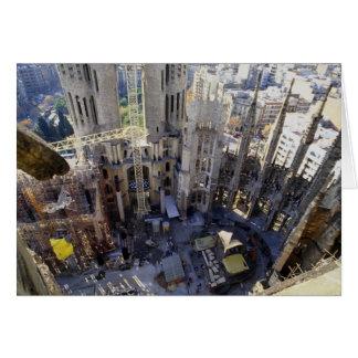 Sagrada familia, aerial, Barcelona, Spain Greeting Card