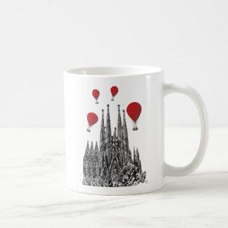 Sagrada Familia and Red Hot Air Balloons Coffee Mug