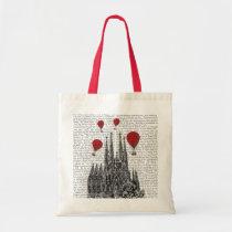 Sagrada Familia and Red Hot Air Balloons Tote Bag