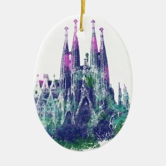 Sagrada Familia Barcelona Adorno Navideño Ovalado De Cerámica