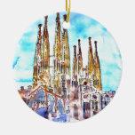 Sagrada Familia Barcelona Adorno Navideño Redondo De Cerámica