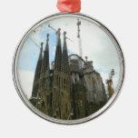 Sagrada Familia, Barcelona Adorno Redondo Plateado