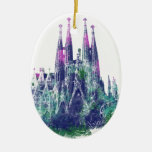 Sagrada Familia Barcelona Double-Sided Oval Ceramic Christmas Ornament