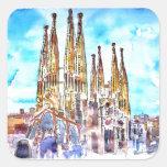 Sagrada Familia Barcelona Pegatina Cuadrada