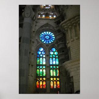 Sagrada Familia Cathedral Barcelona Spain Window Poster