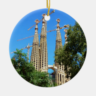 Sagrada Familia church in Barcelona, Spain Ceramic Ornament