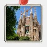 Sagrada Familia en Barcelona, España Adorno Navideño Cuadrado De Metal