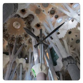 Sagrada Família's ceiling and columns Square Wall Clock