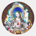 Sagrado Coração de Jesus (Sacred Heart) Pegatina Redonda
