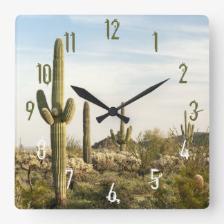 Saguaro Cactus, Arizona,USA Square Wall Clock