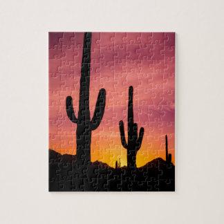 Saguaro cactus at sunrise, Arizona Jigsaw Puzzle