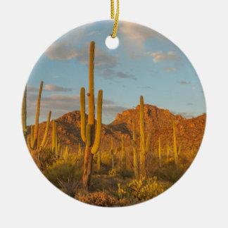 Saguaro cactus at sunset, Arizona Ceramic Ornament