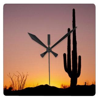 Saguaro Cactus at Sunset Square Wall Clock