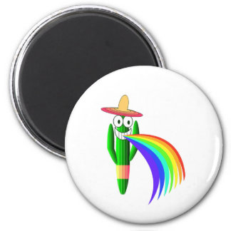 Saguaro Cactus Barfing A Rainbow 2 Inch Round Magnet
