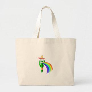 Saguaro Cactus Barfing A Rainbow Large Tote Bag