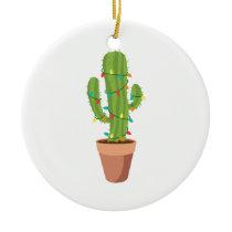 Saguaro Cactus Plant Ceramic Ornament