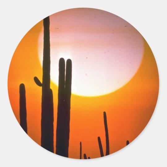 Saguaro cactus, Sonoran Desert, U.S.A. Desert Classic Round Sticker