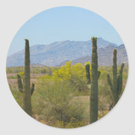 Saguaro Cactus Round Stickers