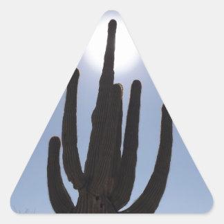 saguaro cactus with sun backdrop triangle sticker