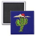 Saguaro Christmas Lights Fridge Magnet
