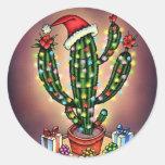 Saguaro del cactus del árbol del día de fiesta del etiqueta redonda
