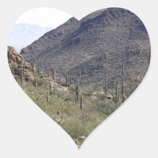 Saguaro Desert Pass Heart Sticker